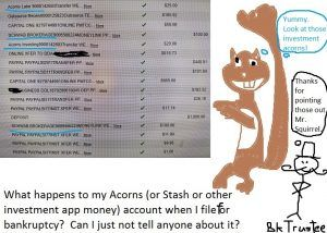 What happens to my Acorns (or Stash or other investment