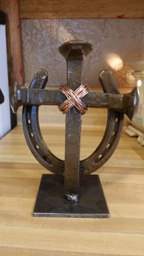 Horseshoe and spike cross by custommetalartstore on etsy for Shoe sculpture ideas