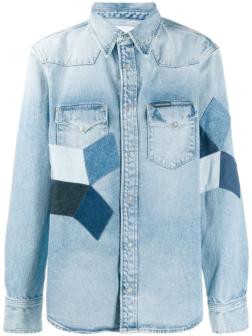 2a2628585a31 Calvin Klein Jeans patchwork denim shirt - Blue in 2019 | Products ...
