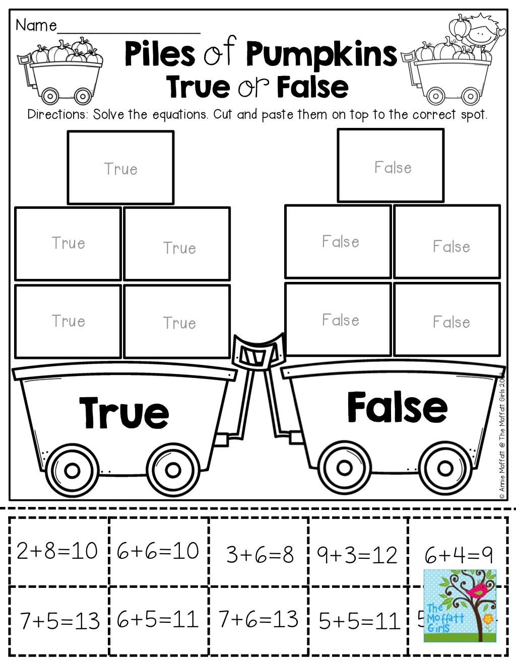 True Or False Cut And Paste The Number Sentences To The