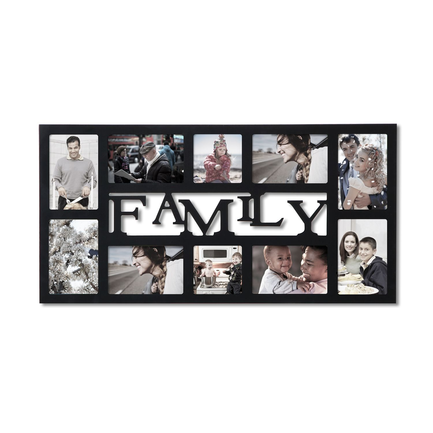Adeco Decorative Black Wood Family Wall Hanging Collage Picture Photo Frame Pf0535 Collage Picture Frames Hanging Wall Decor Wood Wall Hanging