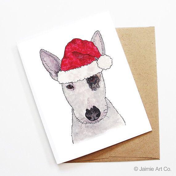 Christmas Card - Bull Terrier, Dog Christmas Card, Cute Christmas