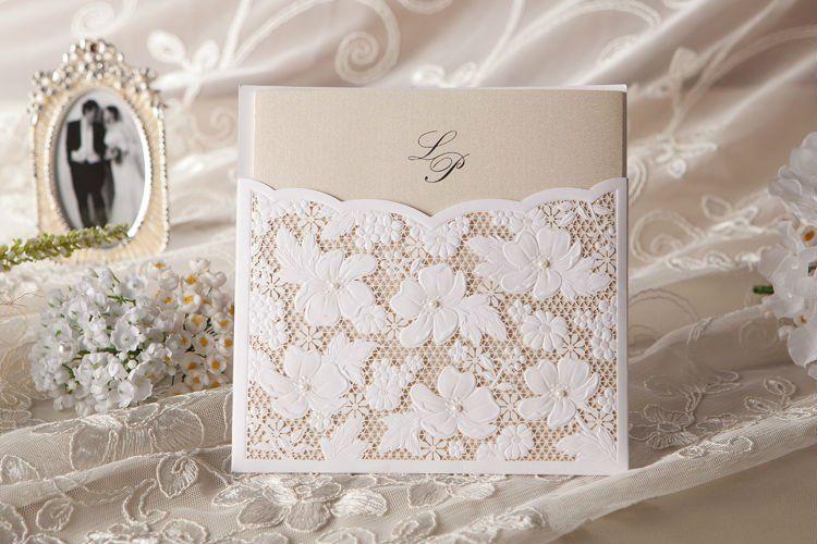 Spitze Blumen Hochzeit Einladung In Weiss Set Von 50 Zum