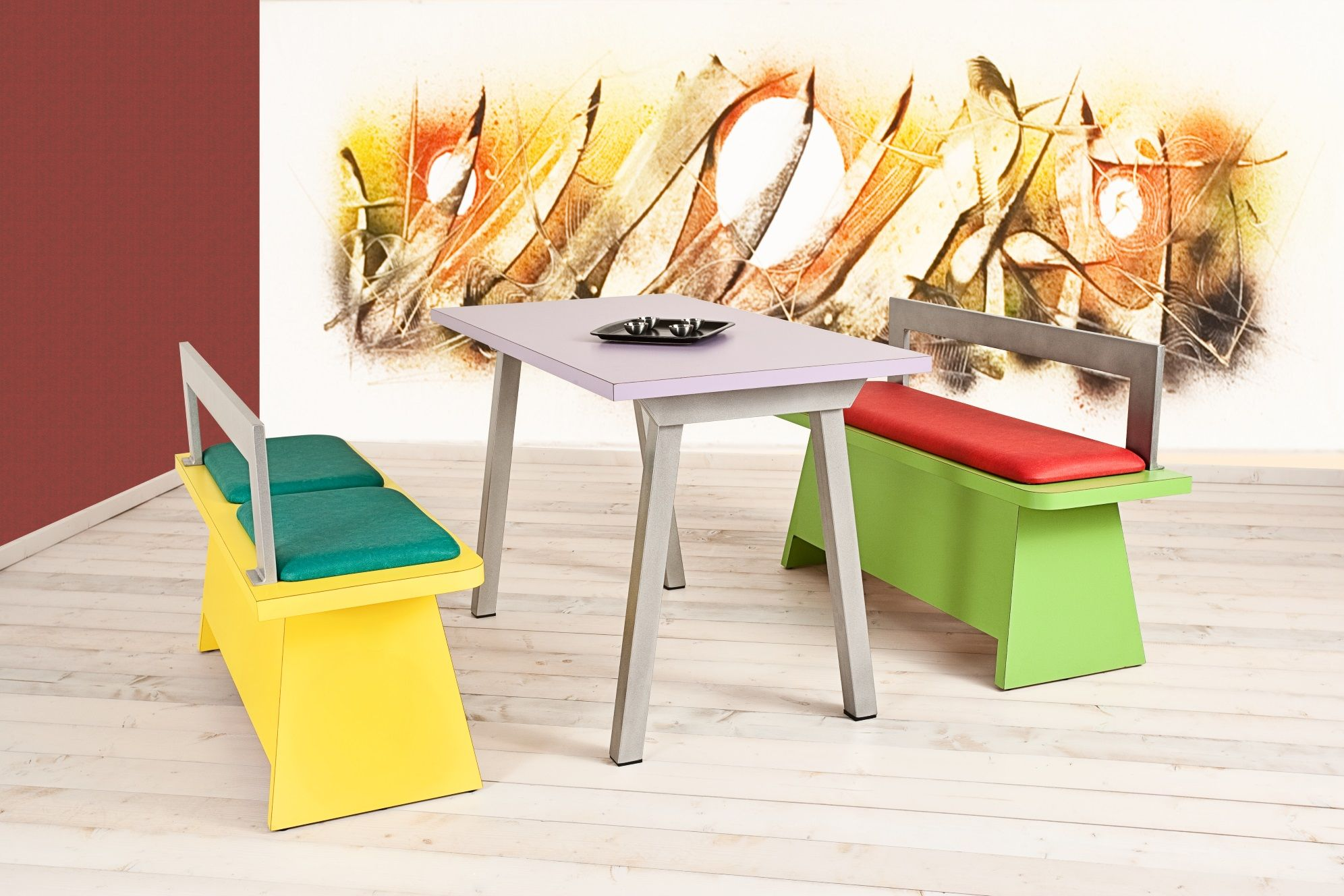 Panche Per Fast Food.Bench Set 115 Bench In Laminated Wood Eco Leather Seat And Metal Backrest Table With Metal Base And A Laminated Surface Set Panche 115 Tavoli Tavolo Sedie