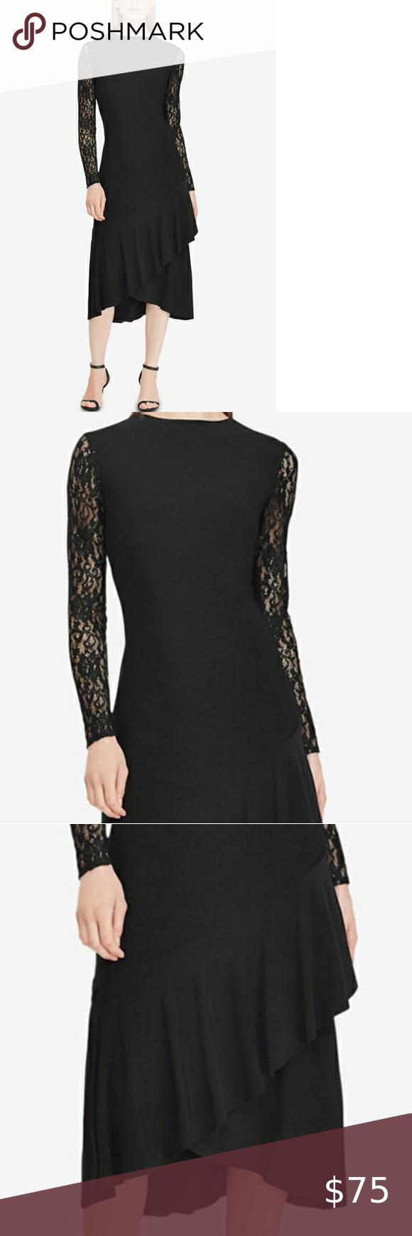 Nwt Lauren Ralph Lauren Size 12 Black Lace Dress Black Lace Dress Fit And Flare Dress Dresses [ 1740 x 580 Pixel ]