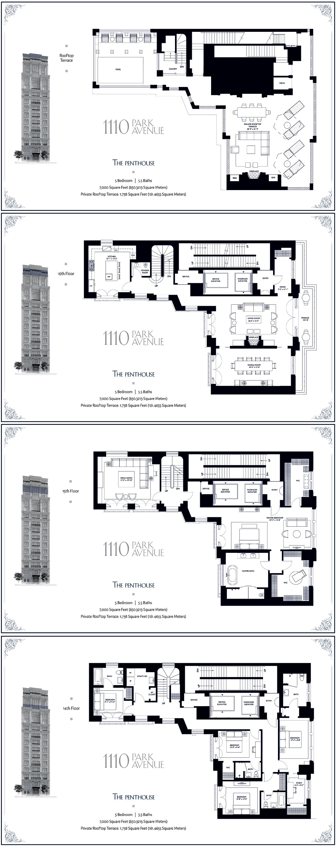 1110 Park Avenue Ph 7 000 Ft 29 500 000 New York Townhouse Apartment Floor Plans Floor Plans