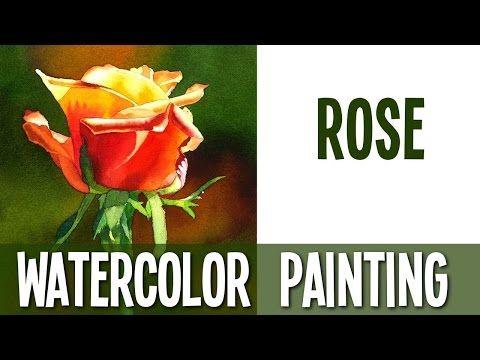 Watercolor painting tutorial Rose
