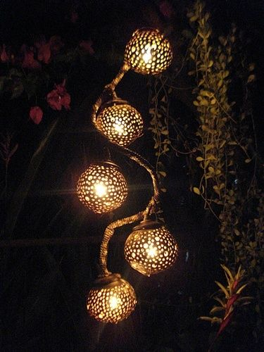Decorative Ball Lights 5 Ball Home Decorative Coconut Shell Garden Spring Hanging Night