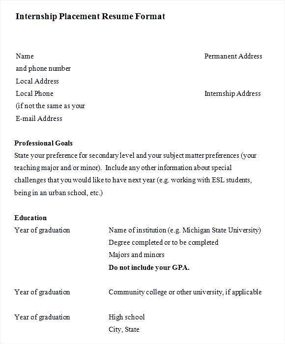 Sle Resume For Internship For Freshers Free Resume