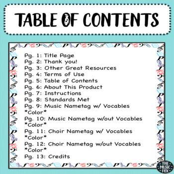 Instrumental Music Choir Music Symbols Name Tags Color Grades 1