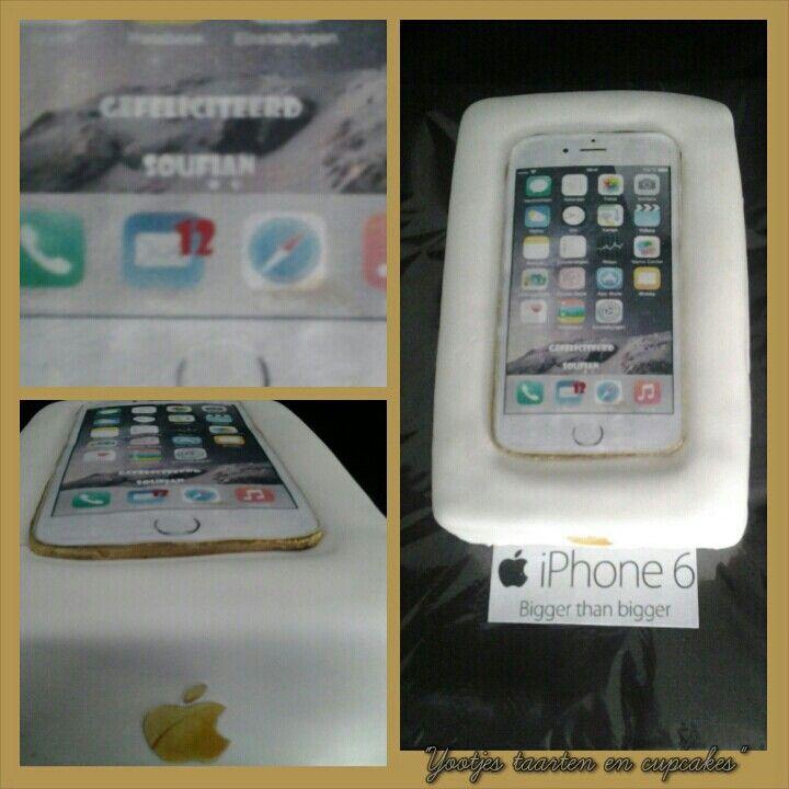 iphone 6 cake De iphone is van chocolde met eetbare print