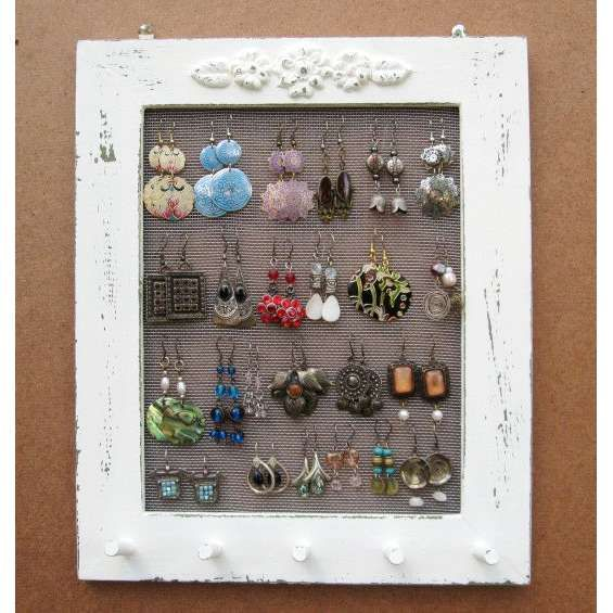 Cream Shabby Chic Jewelry Display Rack This can be done with any