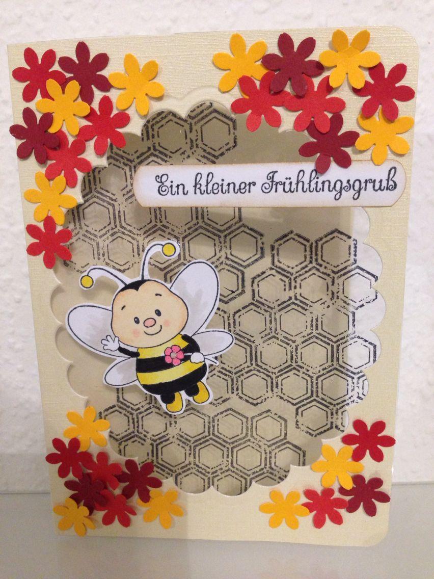 Basteltraumblog.wordpress.com Frühlingskarte mit Biene