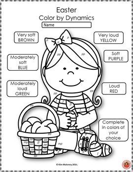 Easter Music Coloring Sheets: 26 Color by Notes and Music