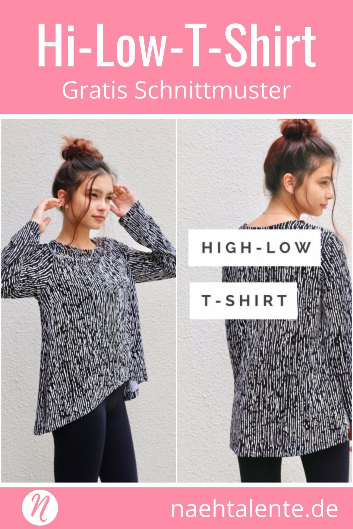 c86507816255a Hi-Low-T-Shirt für Damen ❤ PDF Schnittmuster zum Ausdrucken ❤ Gratis ❤ Gr. S  - XXL ✂ Nähtalente - Das Magazin für Hobbyschneider/innen mit ...