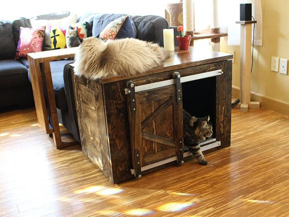 Rustic Cat Litter Box Storage Sliding Barn Doors Custom