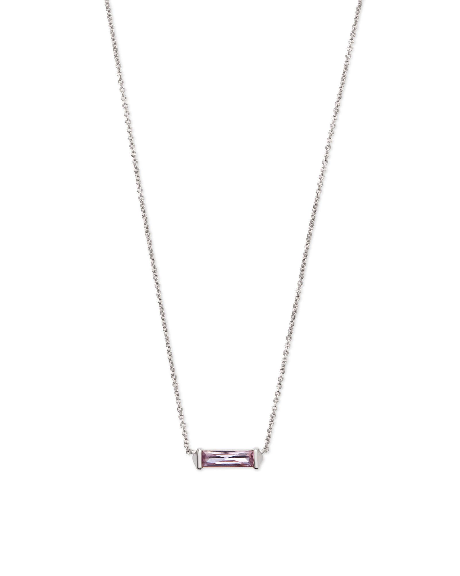 Kendra scott rufus silver pendant necklace in lilac crystal