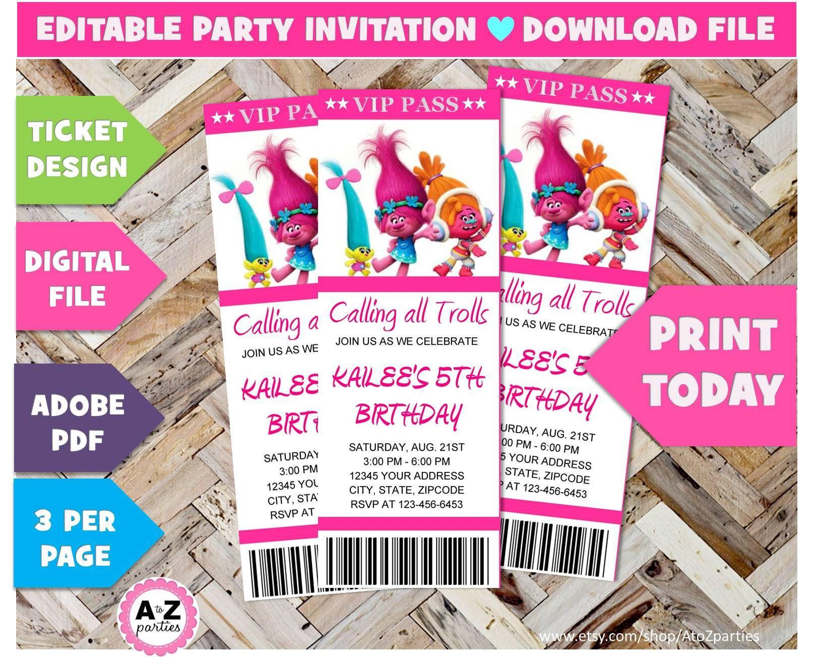395 trolls birthday invitation editable trolls edit with adobe 395 trolls birthday invitation editable trolls edit with adobe trolls party stopboris Gallery