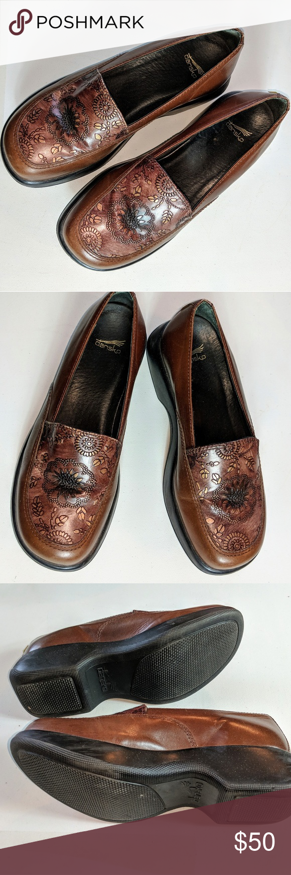 dc61571747c DANSKO Leather Gold Floral Embossed 39 EUR 8.5-9 Gorgeous professional  footwear perfect for those