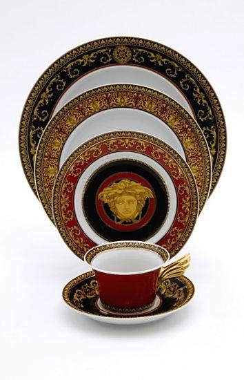 Versace Rosenthal Meets Medusa Dinner Plate Home Bloomingdale S Red Dinnerware Gold Dinnerware Dinnerware