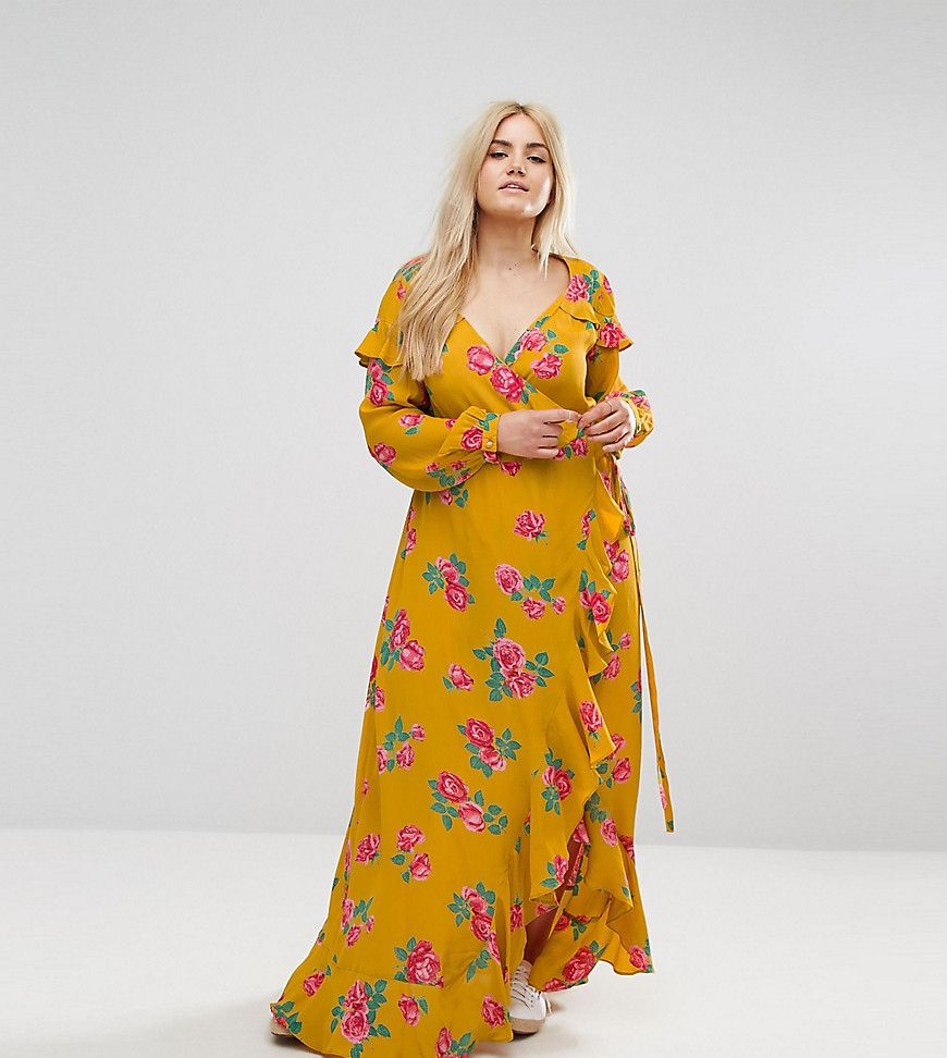 6f5823646f33 Get this Asos Curve's long dress now! Click for more details. Worldwide  shipping. ASOS CURVE Long Sleeve Wrap Maxi Dress in Bold Floral - Multi:  Plus-size ...