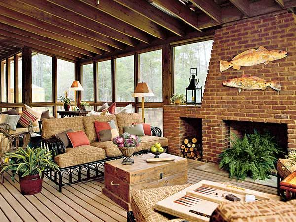 Doors on this large screened porch open to the dining room ... on Large Back Porch Ideas id=59284