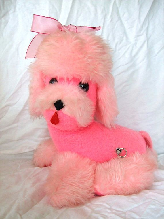 Vintage Pink Poodle Stuffed Wind Up Toy Dog Rock A Bye By Tbmum