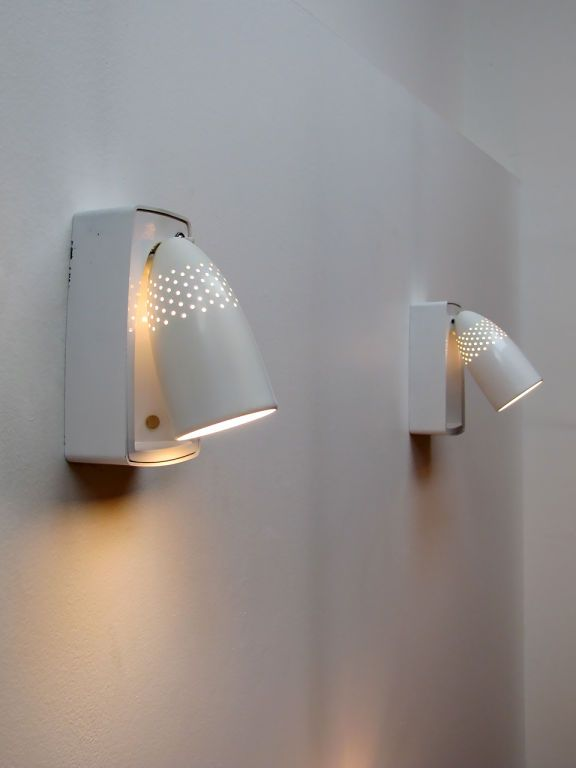 Raymond Loewy; Enameled Aluminum Sconces for Swivelier 1960s. & Raymond Loewy; Enameled Aluminum Sconces for Swivelier 1960s ...