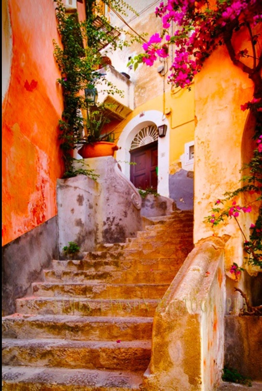 Colourful Quaint Old Stone Stairs and Buildings  Tuscany Italy