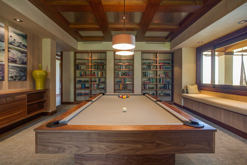 Breathtaking Pool Table Decorating Ideas For Lovely Family Room Tropical  Design Ideas With Artwork Beige Bench Seat Bookshelves Coffered Ceiling  Drum Shade ...