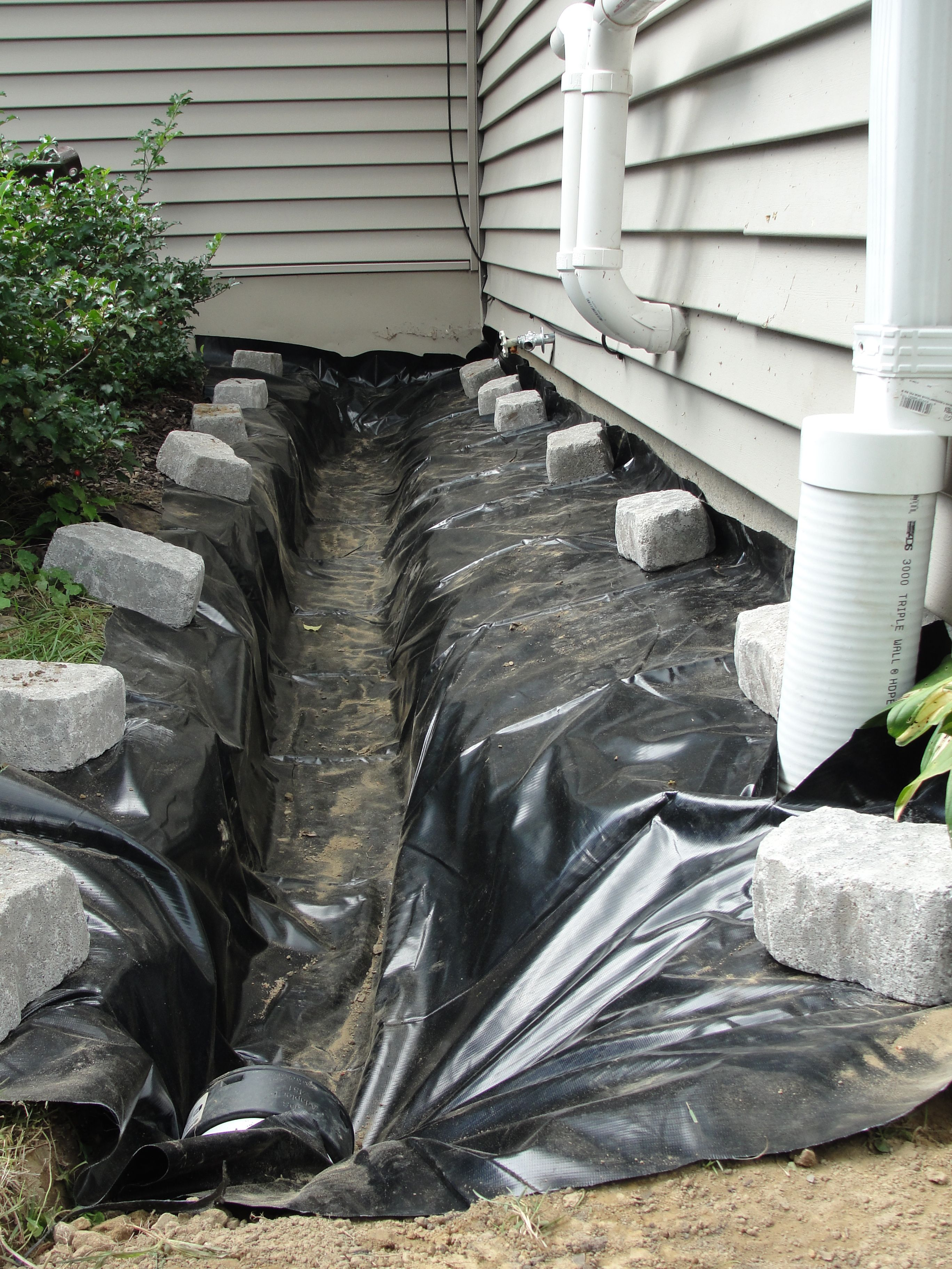 Installation Of A Foundation French Drain System For A Wet