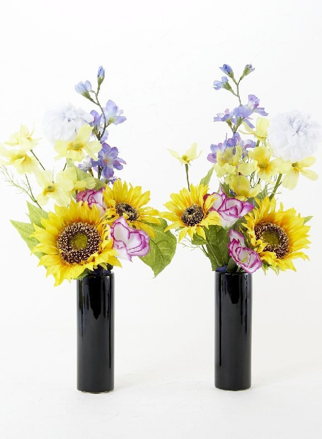 造花 ミニ供花 ヒマワリ ダリアのミニ仏花セット 左右1対 仏壇 花 仏花 造花