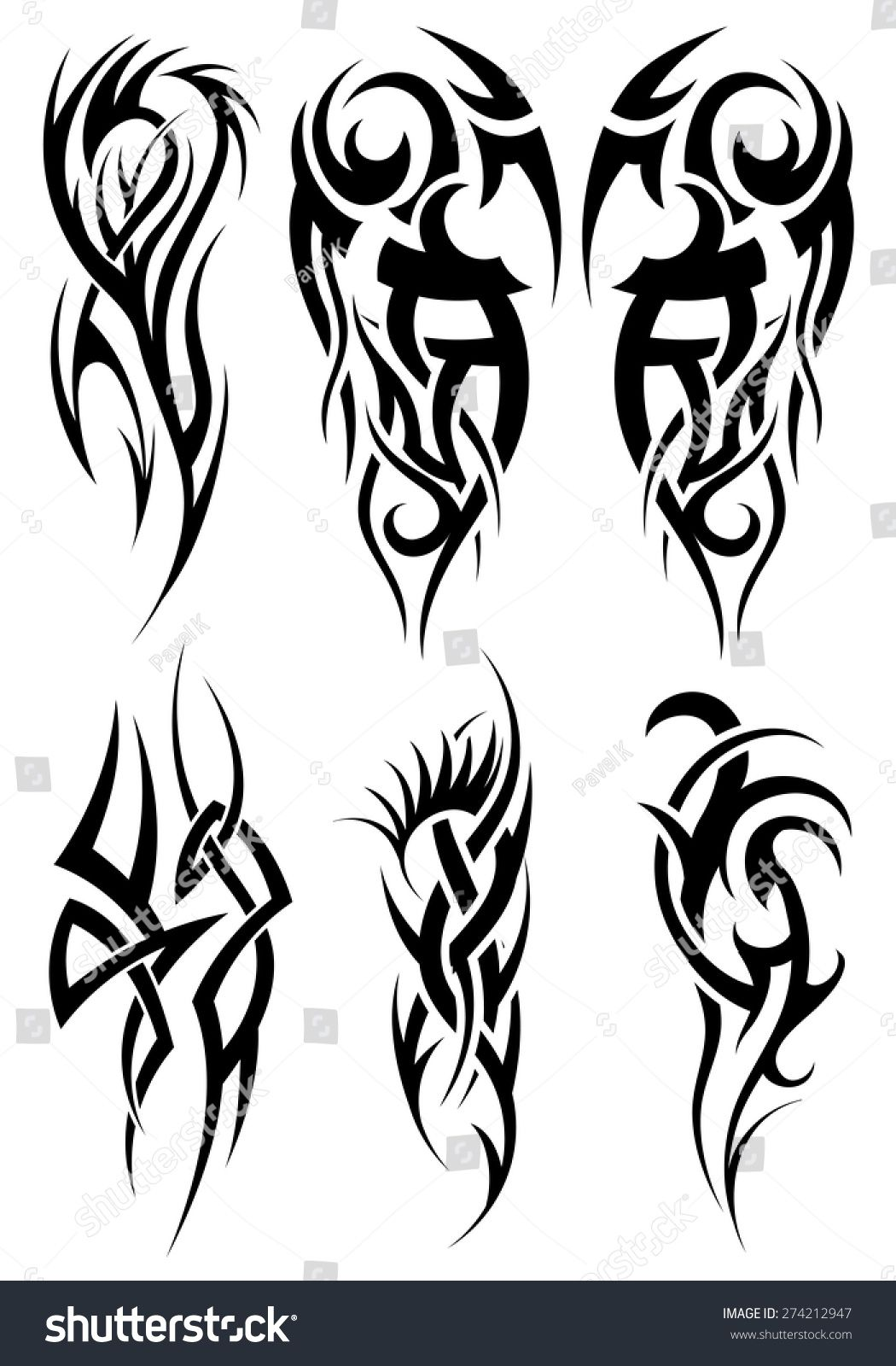 Set Of Tribal Tattoos Eps 10 Vector Illustration Without Transparency Tribal Tattoos Cool Tribal Tattoos Tribal Arm Tattoos