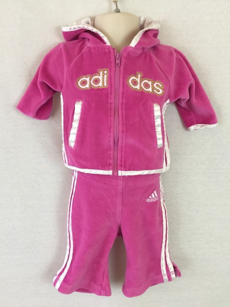 Adidas Girl S Bright Hot Pink Velour White Satin Sweatsuit Hoodie