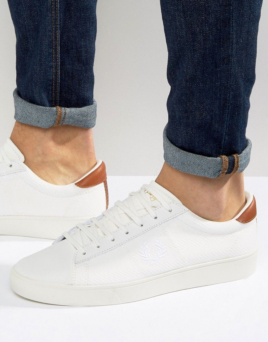 FRED PERRY SPENCER KNIT LEATHER SNEAKERS - WHITE.  fredperry  shoes ... d9c803e85