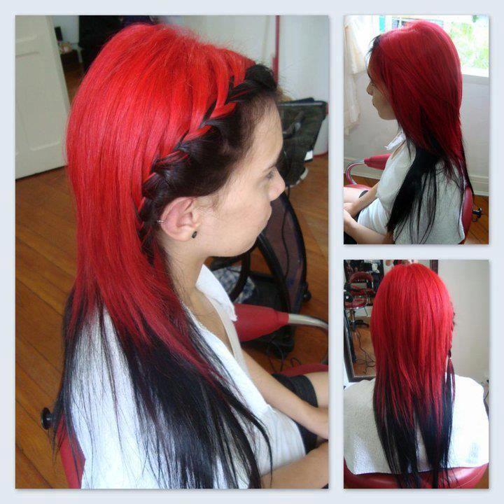 red black braided hair