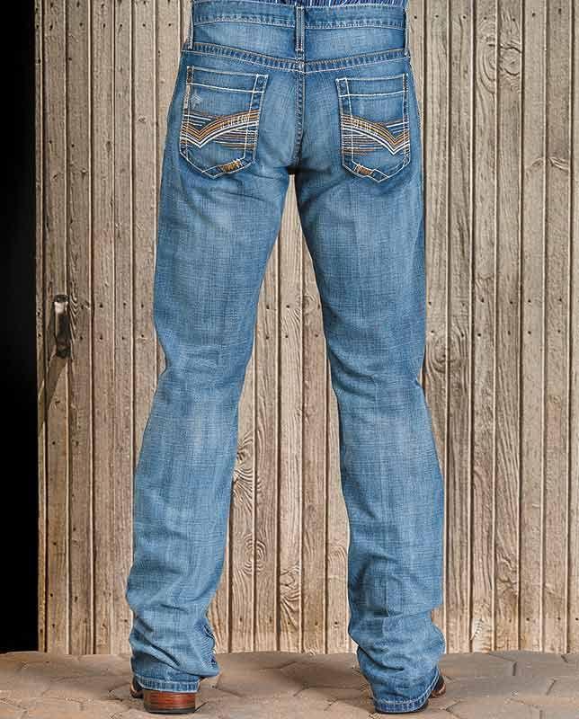 Cinch Ian Slim Fit Mid-Rise Boot Cut Medium Stonewash Jeans ...