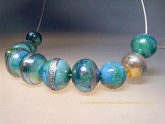 Artist Glass Lampwork Bead Set Set of 11 by manuelawutschke