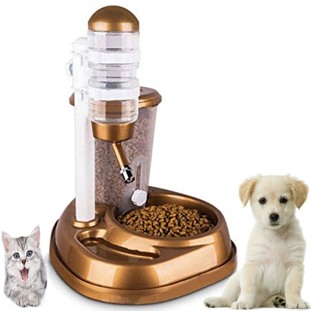 Dr Nezix 2 In 1 Golden Automatic Pet Dog Cat Feeder Waterer Puppy