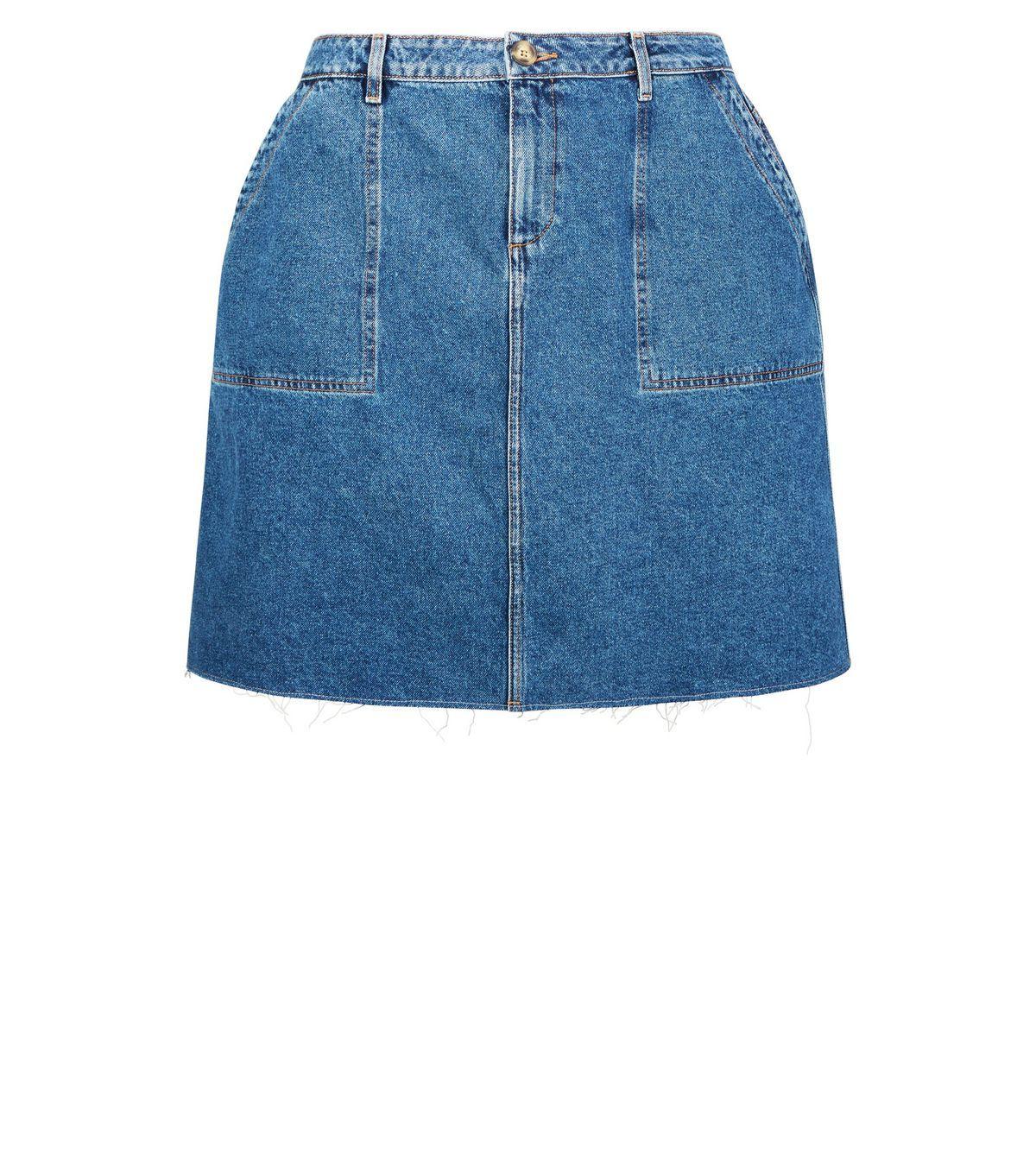 5d54c1ca9fbb2 Curves Blue Raw Hem Denim Utility Skirt i 2018