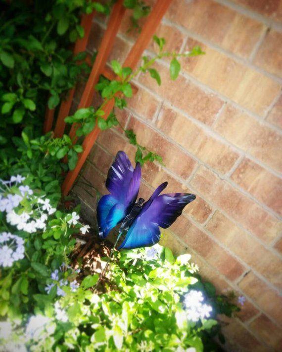 Metal Butterfly Garden Stake Purple Butterfly Garden Stake