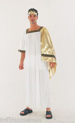 Adult Mens Augustus Costume Roman Julius Caesar Fancy Dress Outfit Toga Robes