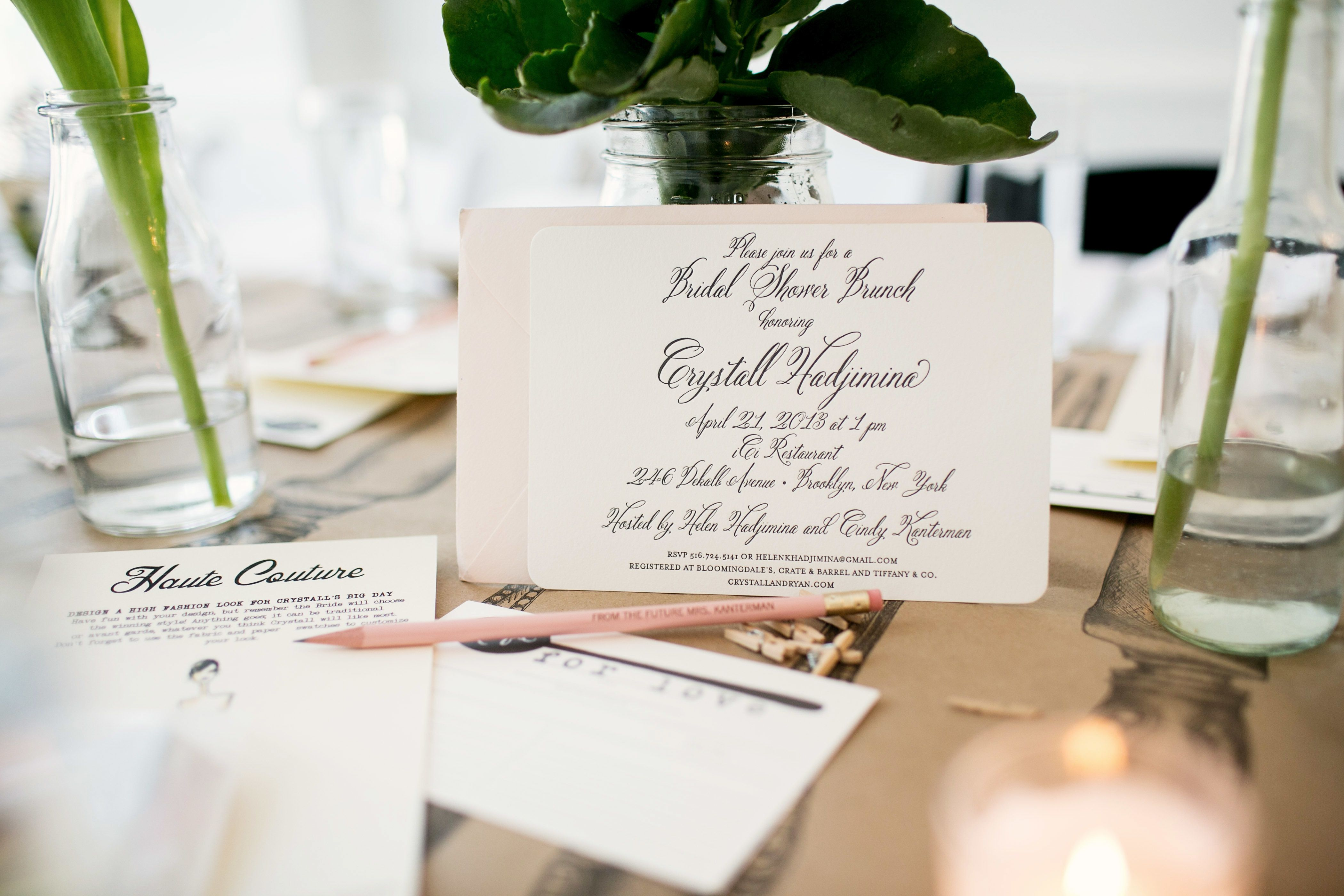 Chic bridal brunch in brooklyn bridal place card