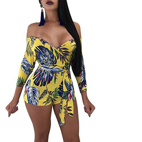 bbb9f0791939 Sherro Women s Sexy Off Shoulder Deep V Neck Long Sleeve Floral Print  Bodycon One Piece Jumpsuit Rompers Clubwear