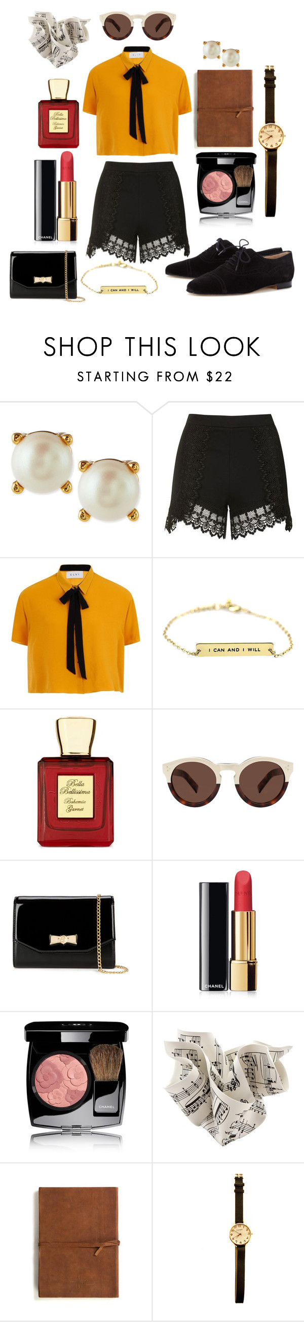 """Untitled #168"" by angelinaap on Polyvore featuring Kate Spade, Topshop, Elvi, Bella Bellissima, Illesteva, Ted Baker, Chanel, Emili and Manolo Blahnik"