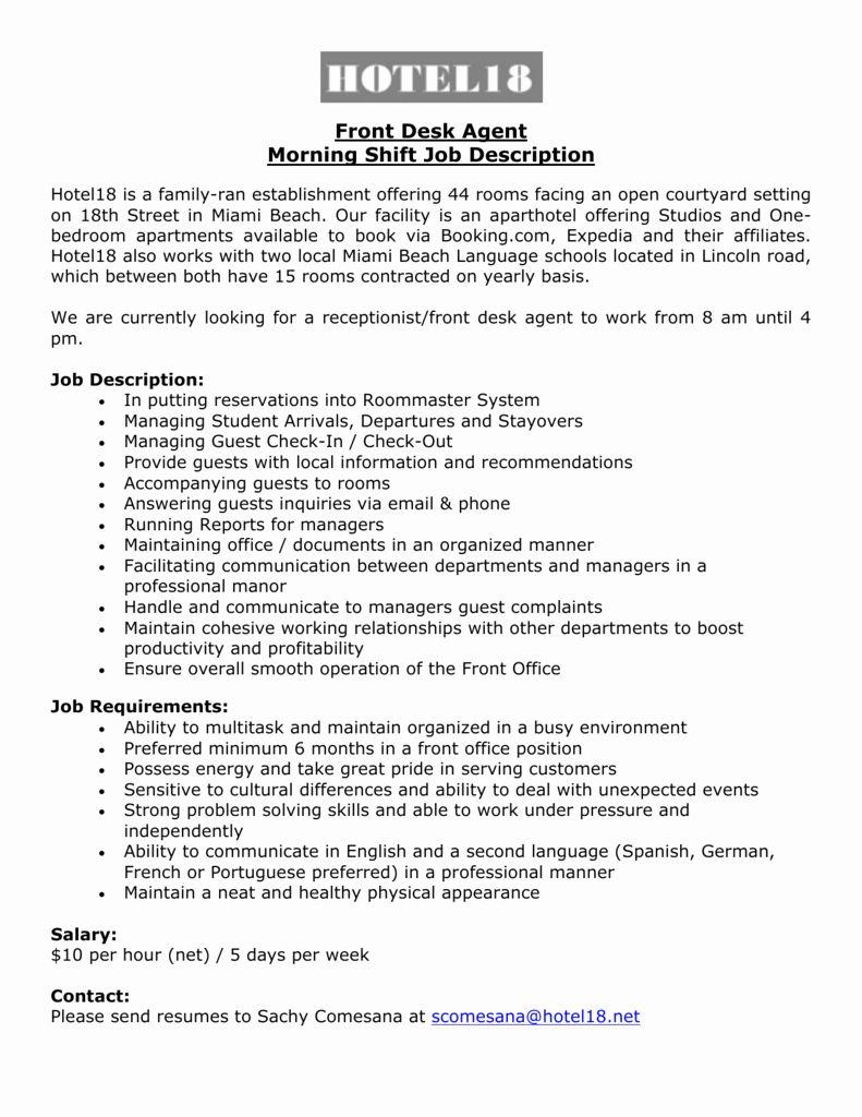 23 Hotel Front Desk Job Description Resume in 2020 Front