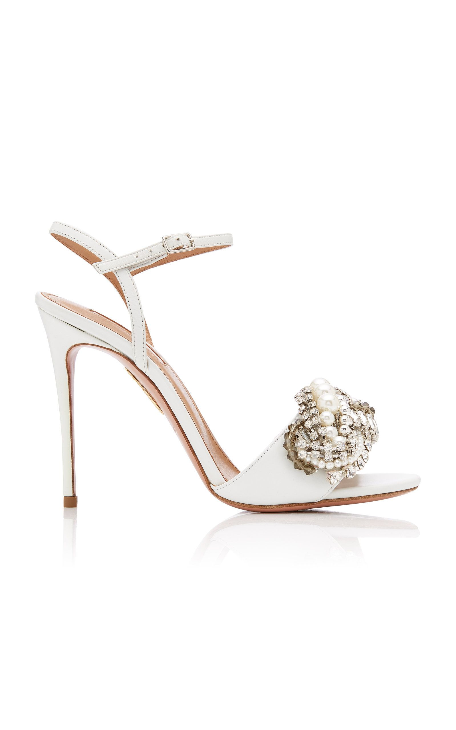 5328438b9 Wild Chain Crystal and Faux Pearl-Embellished Leather Sandals by AQUAZZURA  Now Available on Moda Operandi