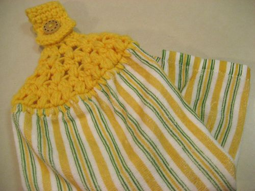 Hanging Kitchen Dish Towel Bold Yellow Stripes With