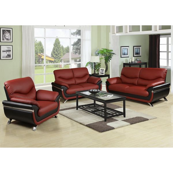 Alica Modern Black/ Red Faux Leather Chair | Overstock.com Shopping   The  Best. Formal Living RoomsLiving Room ...