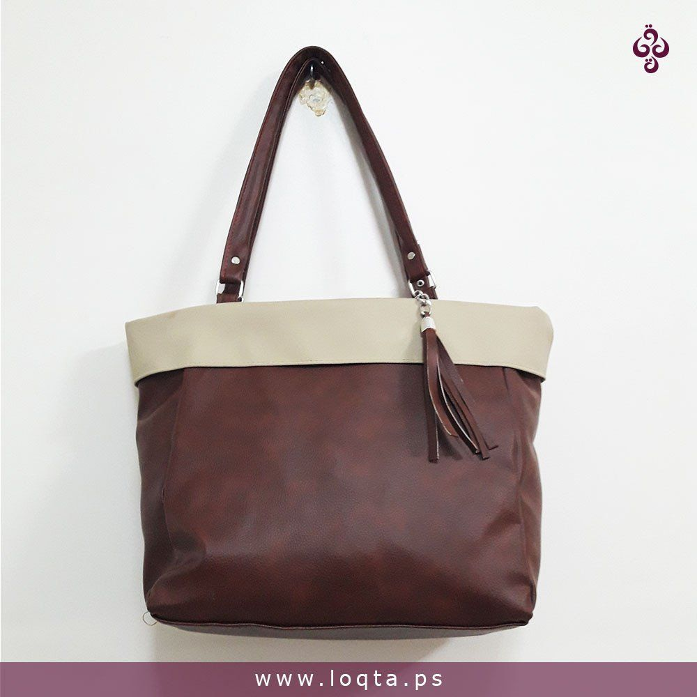 حقيبة كتف طاقية بعدة ألوان Loqta Ps بني مع بيج Bags Shoulder Bag Tote Bag